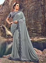 Load image into Gallery viewer, Grey Floral Embroidered Saree