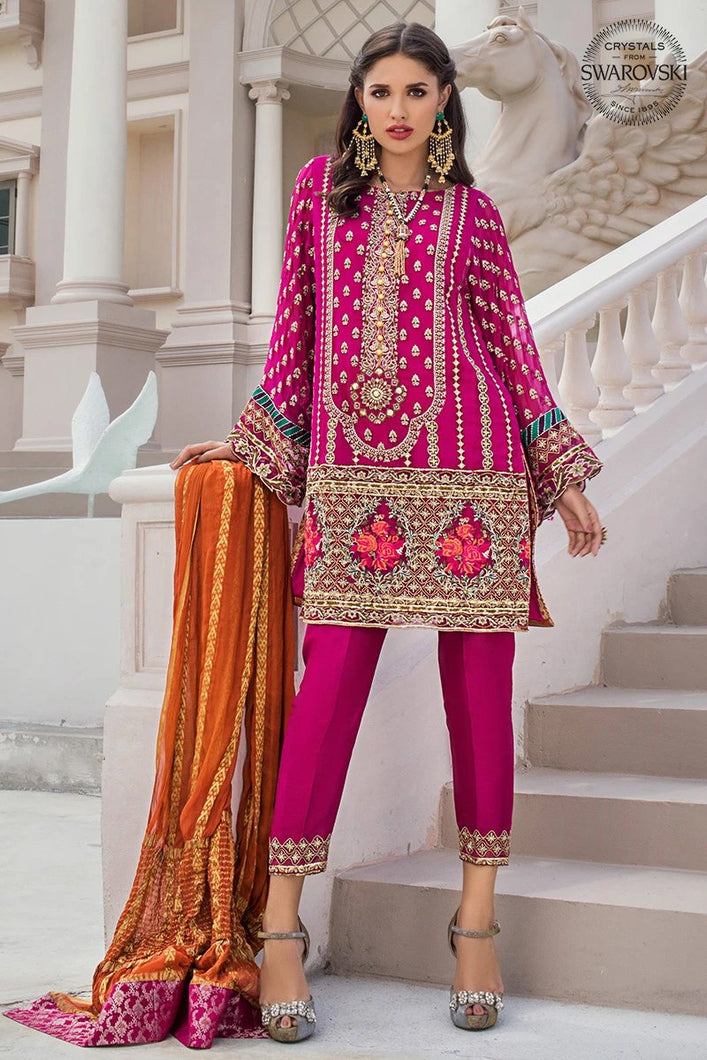 Bridal Collection By ZAINAB CHOTTANI with Swarovski Crystals and Embroidered Chiffon. LebaasOnline has Zainab Chottani Pakistani Party Wear & Pakistani Ready made suits for Online Shopping Worldwide, delivering to the UK, Germany, London, Bradford and USA selling 100% original Pakistani Designer Wedding & Bridal Suits.