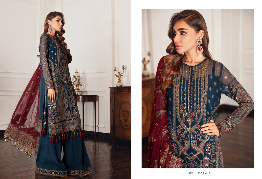 Buy Jazmin D2 | Palais Pakistani Clothes For Women at Our Online Pakistani Designer Boutique UK, Indian & Pakistani Clothing and ready-made Asian Clothes UK Jazmin Suits, Baroque Embroidered Chiffon Collection 2021 & Eid Collection Outfits in USA on discount price exclusively available at our Online store Lebaasonline