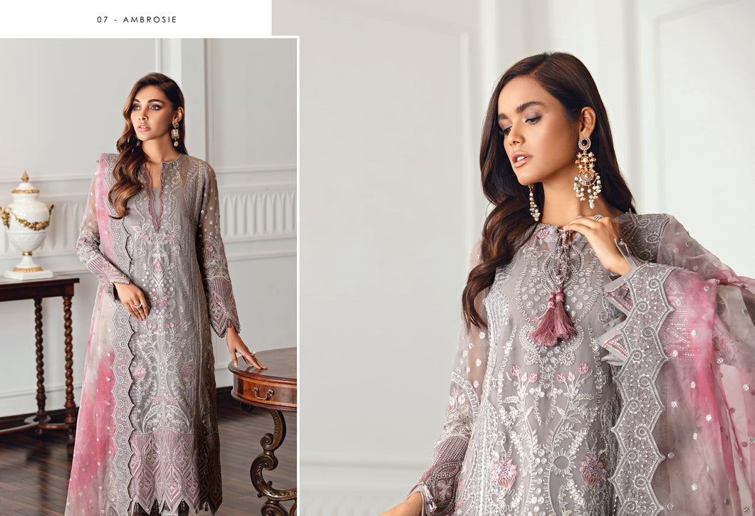 Buy Jazmin D7 | Ambrosie Pakistani Clothes For Women at Our Online Pakistani Designer Boutique UK, Indian & Pakistani Clothing and readymade Asian Clothes UK Jazmin Suits, Baroque Embroidered Chiffon Collection 2021 & Eid Collection Outfits in USA on discount price exclusively available at our Online store Lebaasonline