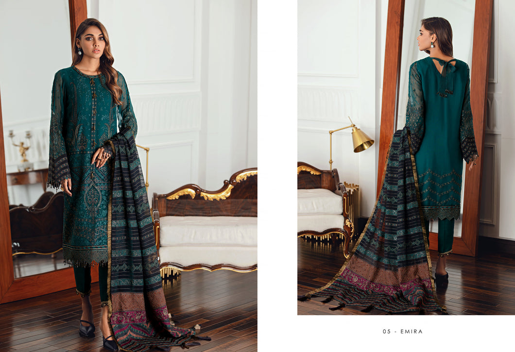 Buy Jazmin D5 | Emira Pakistani Clothes For Women at Our Online Pakistani Designer Boutique UK, Indian & Pakistani Clothing and readymade Asian Clothes UK Jazmin Suits, Baroque Embroidered Chiffon Collection 2021 & Eid Collection Outfits in USA on discount price exclusively available at our Online store Lebaasonline