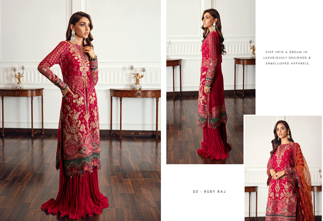 Buy Jazmin D3 | Ruby Raj Pakistani Clothes For Women at Our Online Pakistani Designer Boutique UK, Indian & Pakistani Clothing and readymade Asian Clothes UK Jazmin Suits, Baroque Embroidered Chiffon Collection 2021 & Eid Collection Outfits in USA on discount price exclusively available at our Online store Lebaasonline
