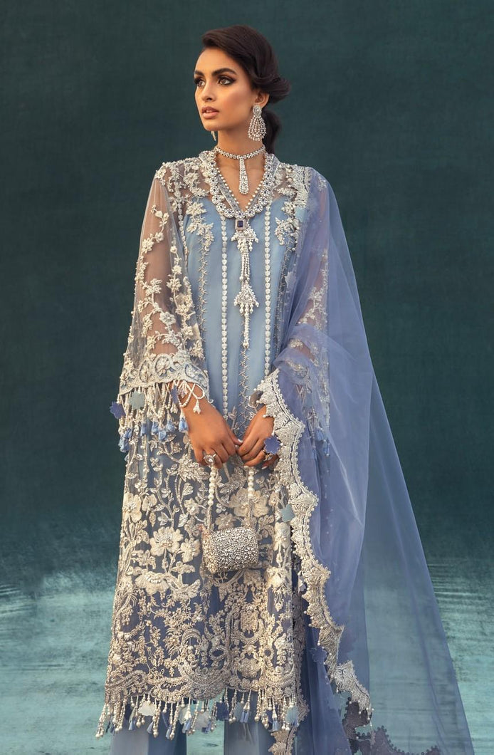 Buy  Nura - Luxury Festive 21 | 06 Blue Chiffon festive Eid collection dresses from our official website. The Sana Safinaz 2021 Eid chiffon collection is trending these day Sana Safinaz 2021 Maria b Eid collection 2021 asim jofa 2021 all available in unstitched and customized Buy Eid dress from Lebaasonline in UK, USA
