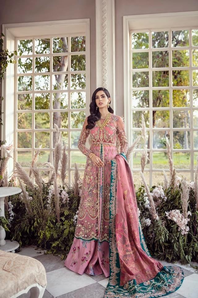 REPUBLIC WOMENSWEAR | Indian Pakistani Luxury Wedding Dresses Collection 2021 - Jolie LF 53 . Pakistani Formal Wear For Indian & Pakistani Women in the UK & USA. Exclusively designed Sharara style Gown with delicate embroidery on chiffon & silk fabric, matching dupatta is included. Available in Stitched and Unstitched.