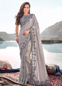 Light Grey Embroidered Saree