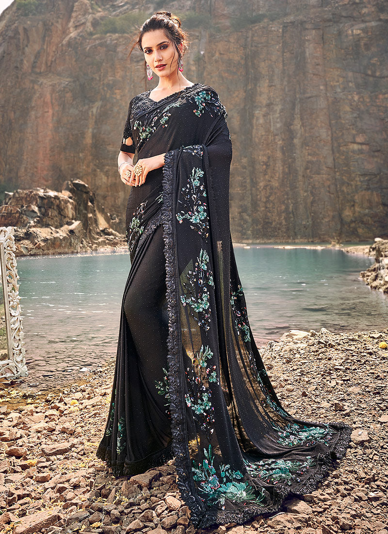 Black Floral Embroidered Saree
