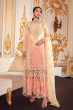 Load image into Gallery viewer, Shop now EMAAN ADEEL | BELLE ROBE - BR-08 CORAL CHROMA at www.LebaasOnline.co.uk  Khaddi Net Embroidered mirror work, New Indian & Pakistani Designer Partywear Suits in the UK and USA at LebaasOnline. Browse new EMAAN ADEEL | BELLE ROBE - BR-08 CORAL CHROMA Wedding Party, Nikah & Walima dresses SALE at LebaasOnline.