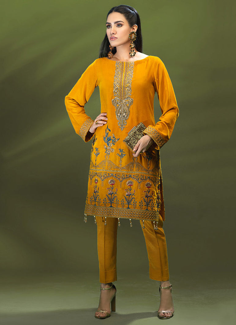 Terracotta Yellow Velvet Kurti for Mehndi Party - LebaasOnline