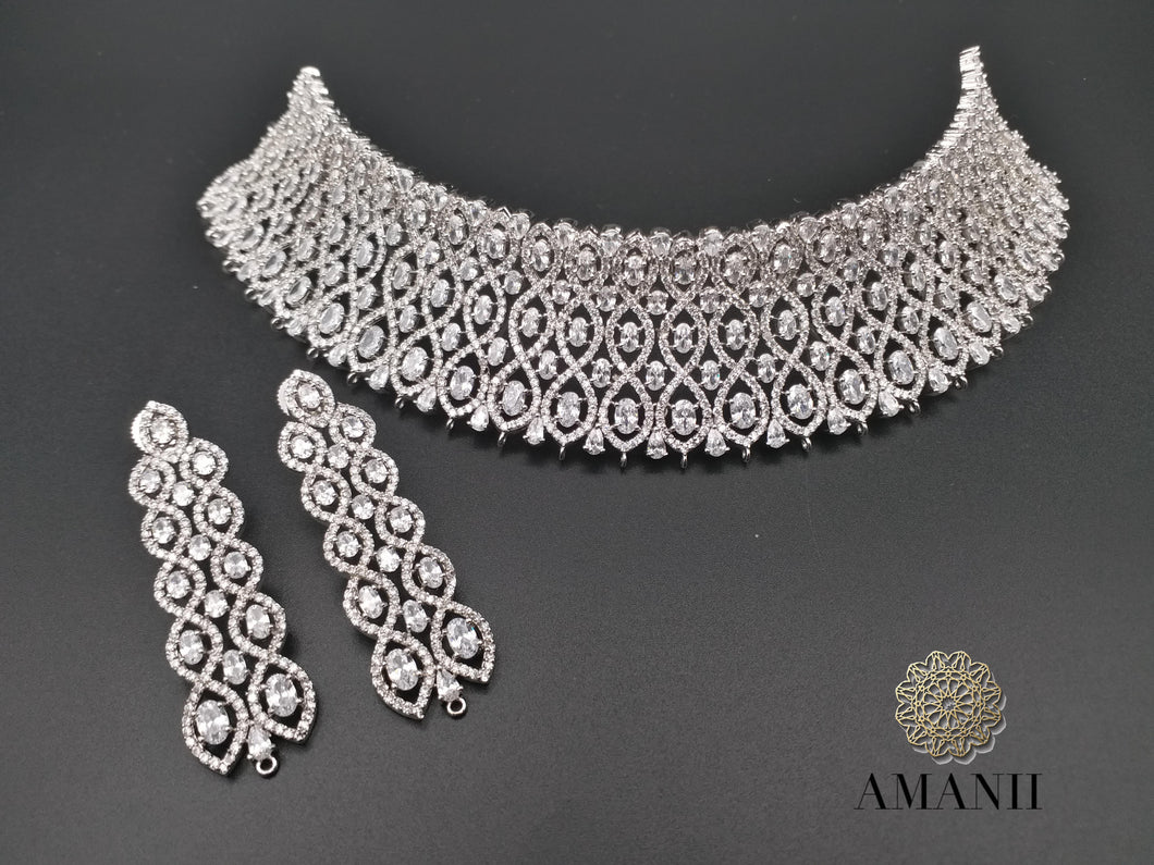 Silver American Diamond Bridal Jewellery Set - LebaasOnline