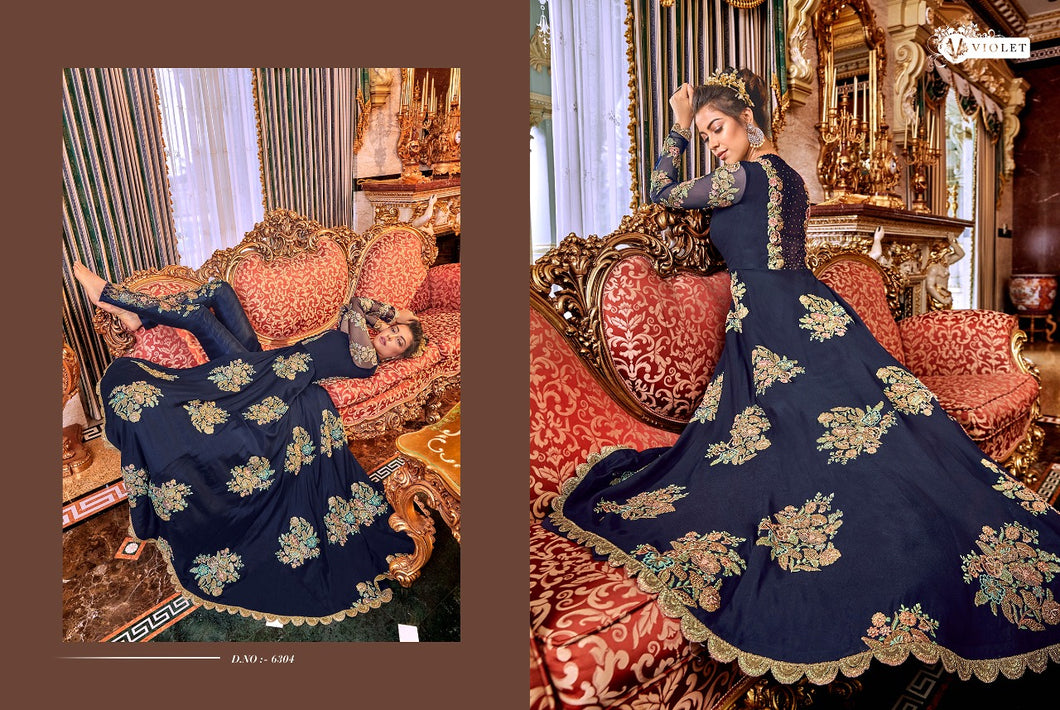 SNOWWHITE -Swagat Anarkali Suits in berry blue - LebaasOnline