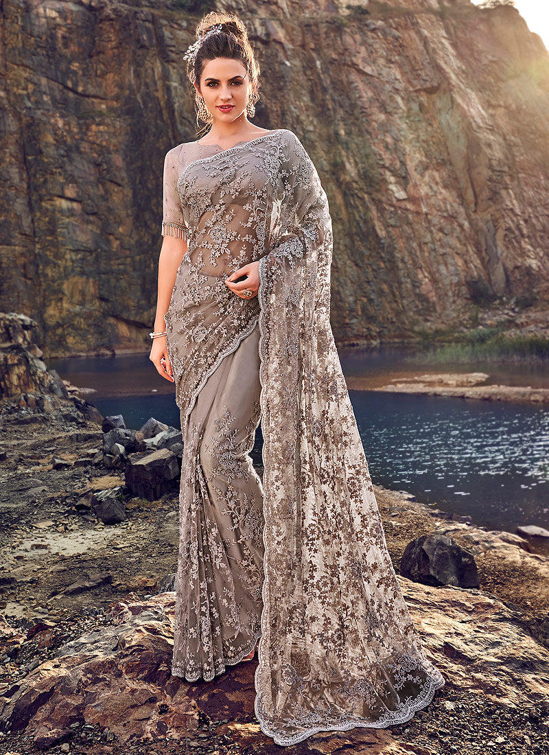 Grey and Copper Floral Embroidered Saree