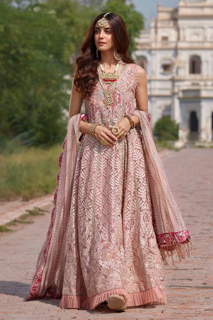 Modern Shrimp Pink Anarkali by Crimson Wedding Luxury - LebaasOnline