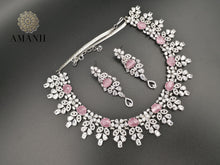 Load image into Gallery viewer, American Diamond Jewellery Set in Pink Ruby - LebaasOnline