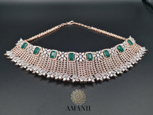 Load image into Gallery viewer, American Diamond Jewellery Set in Emerald & Gold - LebaasOnline
