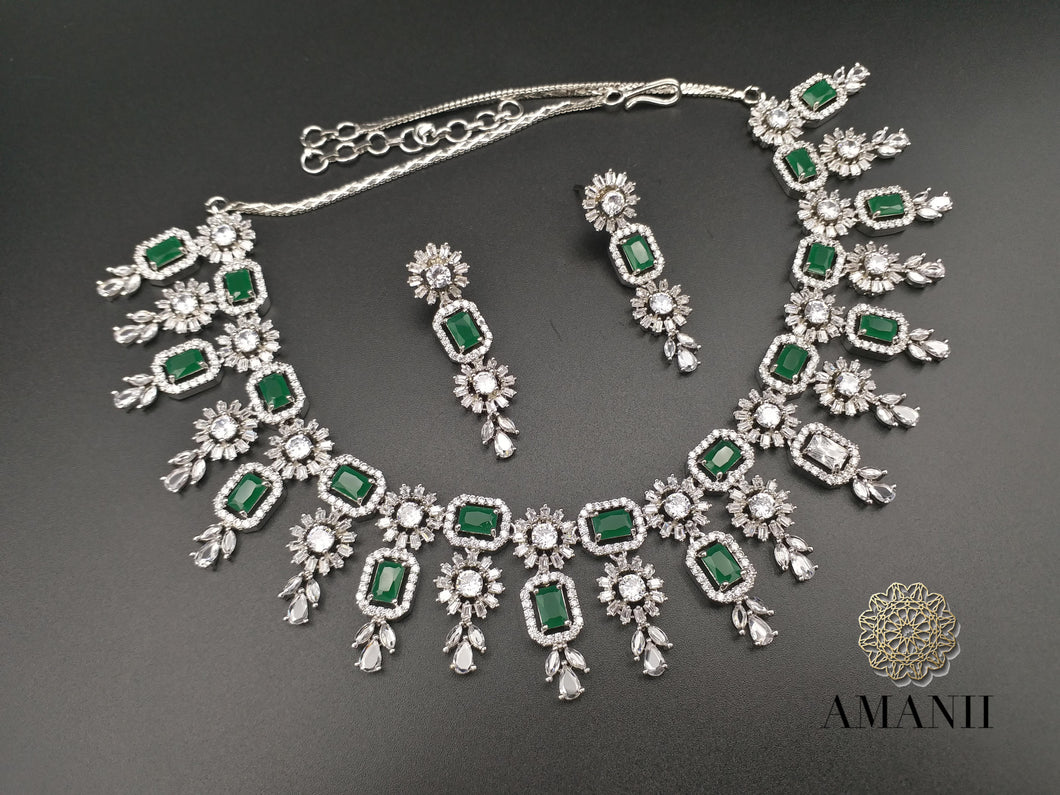 Amanii American Diamond Jewellery Set in Silver & Emerald Green - LebaasOnline