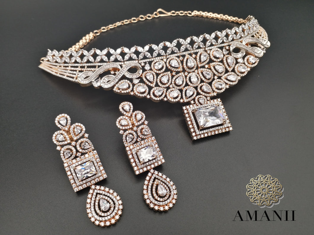 American Diamond Indian Jewellery Set in Gold - LebaasOnline