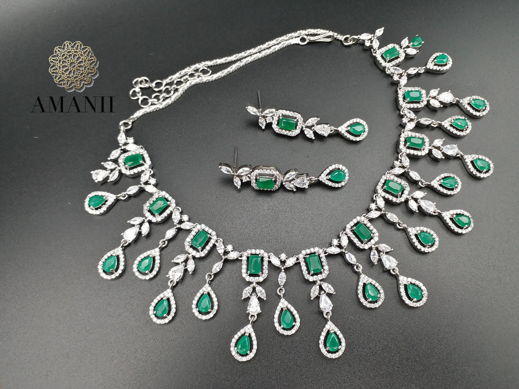 American Diamond Jewellery Set in Emerald green - LebaasOnline
