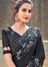Load image into Gallery viewer, Black Floral Embroidered Saree