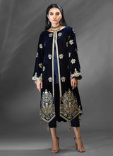 Load image into Gallery viewer, Navy Blue Azalea Velvet Kurti - LebaasOnline