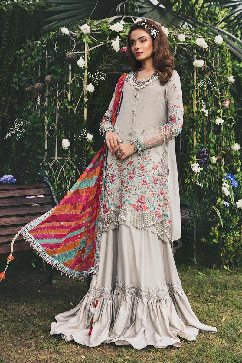Maria B Sateen Ivory and Lehria Designer Suit