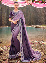 Load image into Gallery viewer, Purple Shaded Embroidered Saree