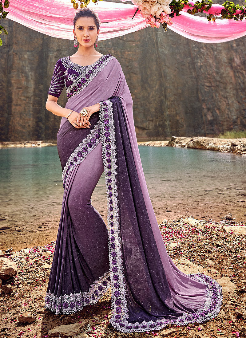 Purple Shaded Embroidered Saree