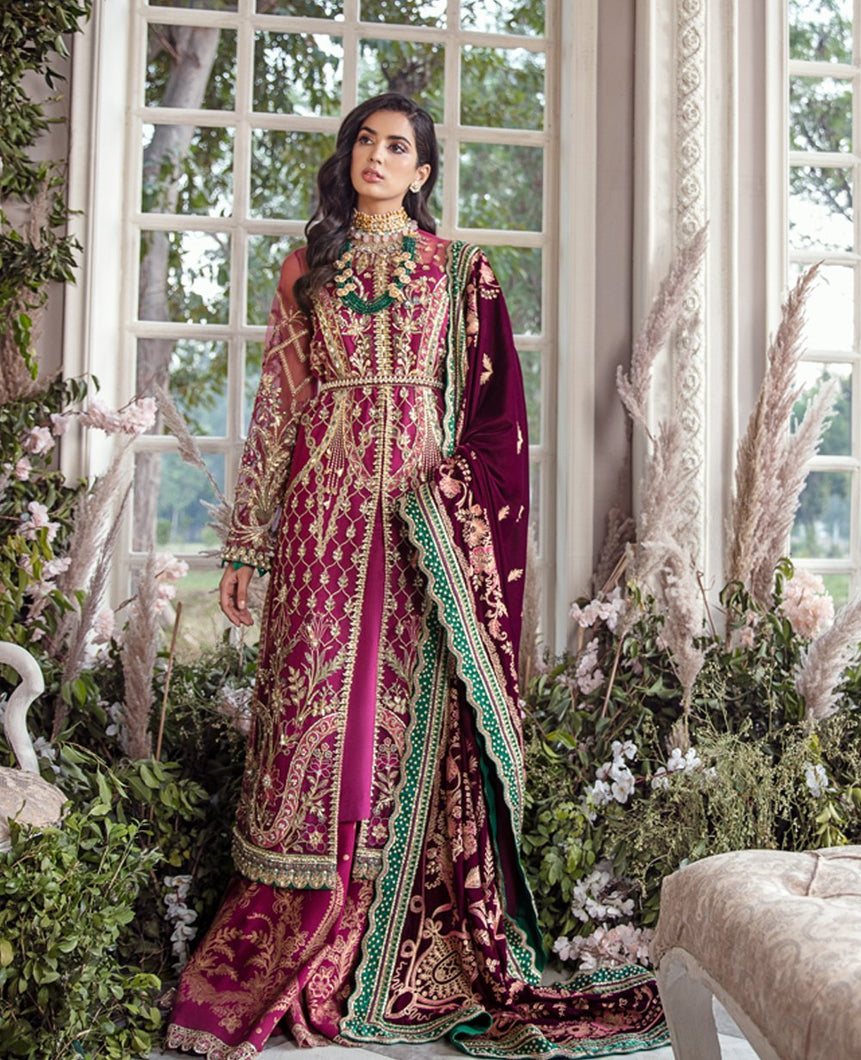 REPUBLIC WOMENSWEAR | Indian Pakistani Luxury Wedding Dresses Collection 2021- Très beau LF47. Pakistani Formal Wear For Indian & Pakistani Women in the UK & USA. Exclusively designed Sharara style Gown with delicate embroidery on chiffon & silk fabric, matching dupatta is included. Available in Stitched and Unstitched