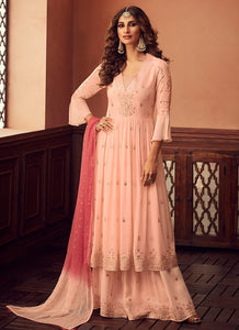 Designer Sharara Suit 2020 - Light Peach by ZOYA Traditions
