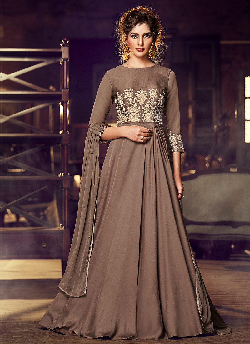 Nakkashi FLAIR Indian Gowns 2020 - Light Brown
