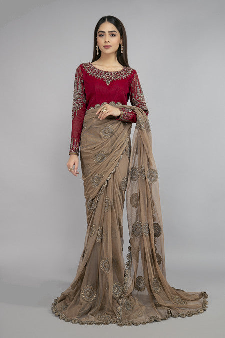 Maria B | Maroon Wedding Saree