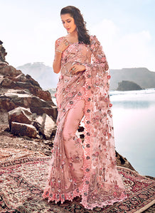 Peach Floral Embroidered Saree