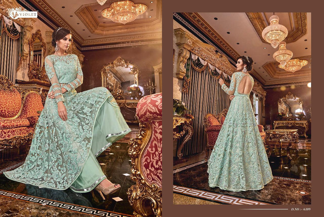 SNOWWHITE -Swagat Anarkali Suit in Modest Blue - LebaasOnline