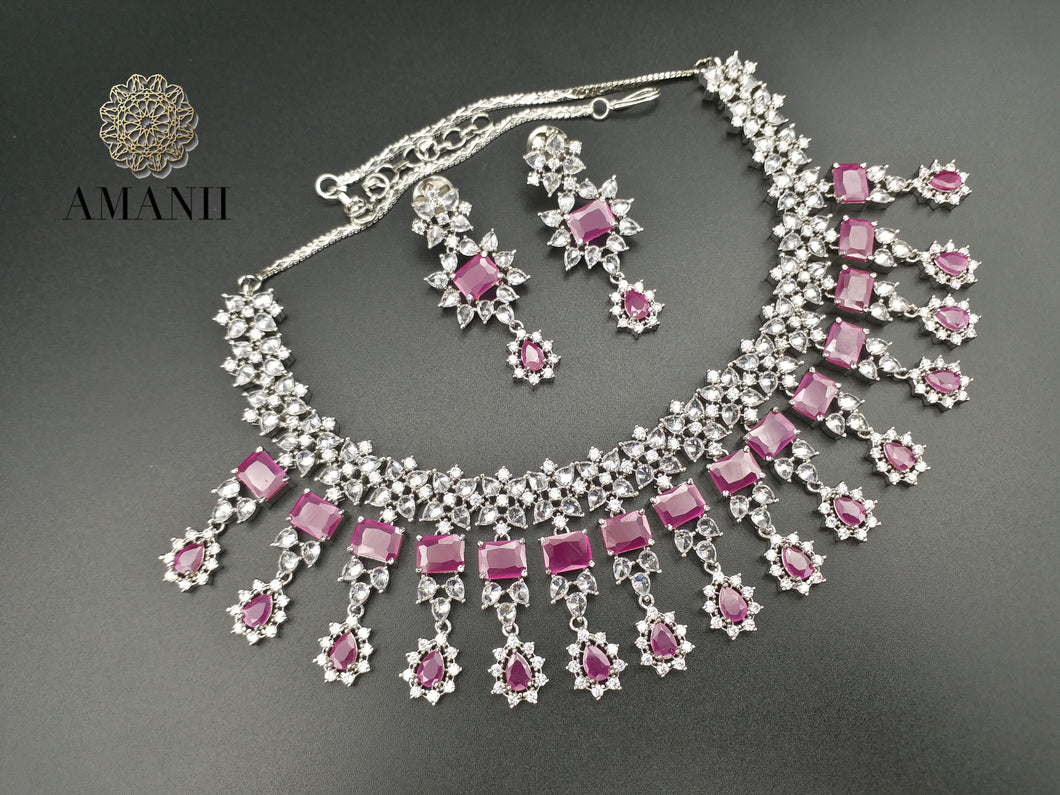 American Diamond Jewellery Set in Ruby - LebaasOnline