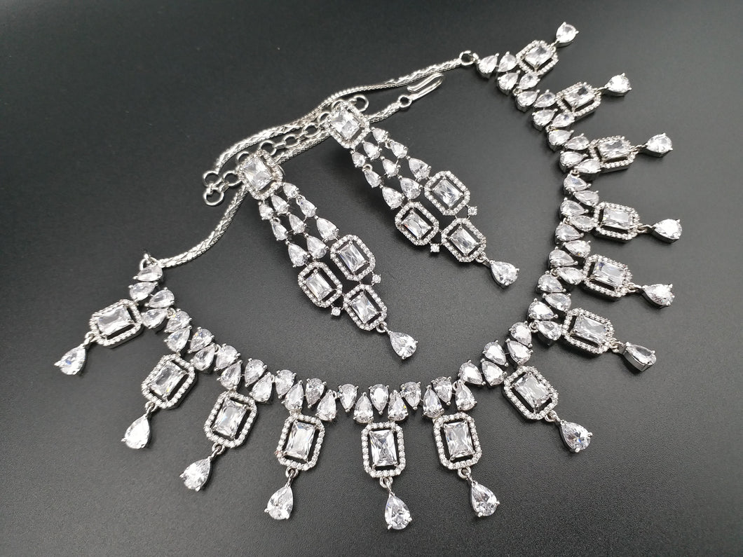 American Diamond Designer Jewellery Set In Silver - LebaasOnline