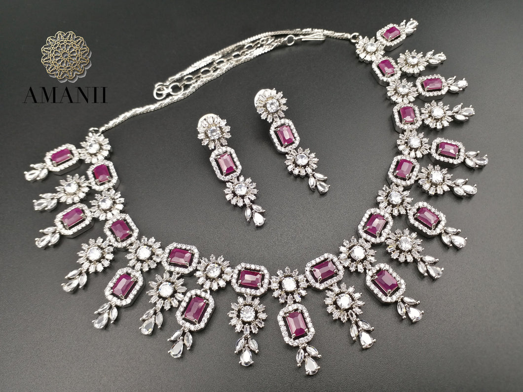 American Diamond Jewellery Set in Ruby & Silver - LebaasOnline