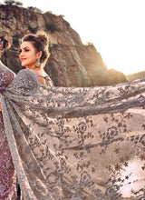 Load image into Gallery viewer, Grey and Copper Floral Embroidered Saree