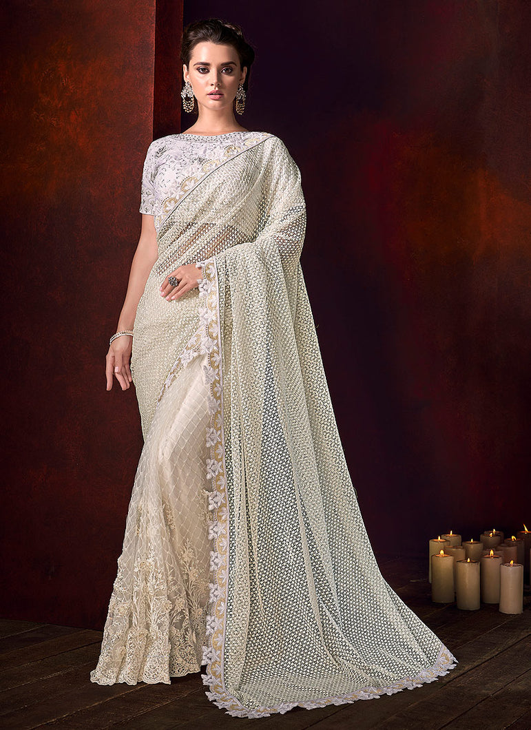 Light Cream Embroidered Saree