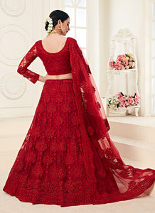 Bridal Red Heavy Embroidered Lehenga by Alizeh