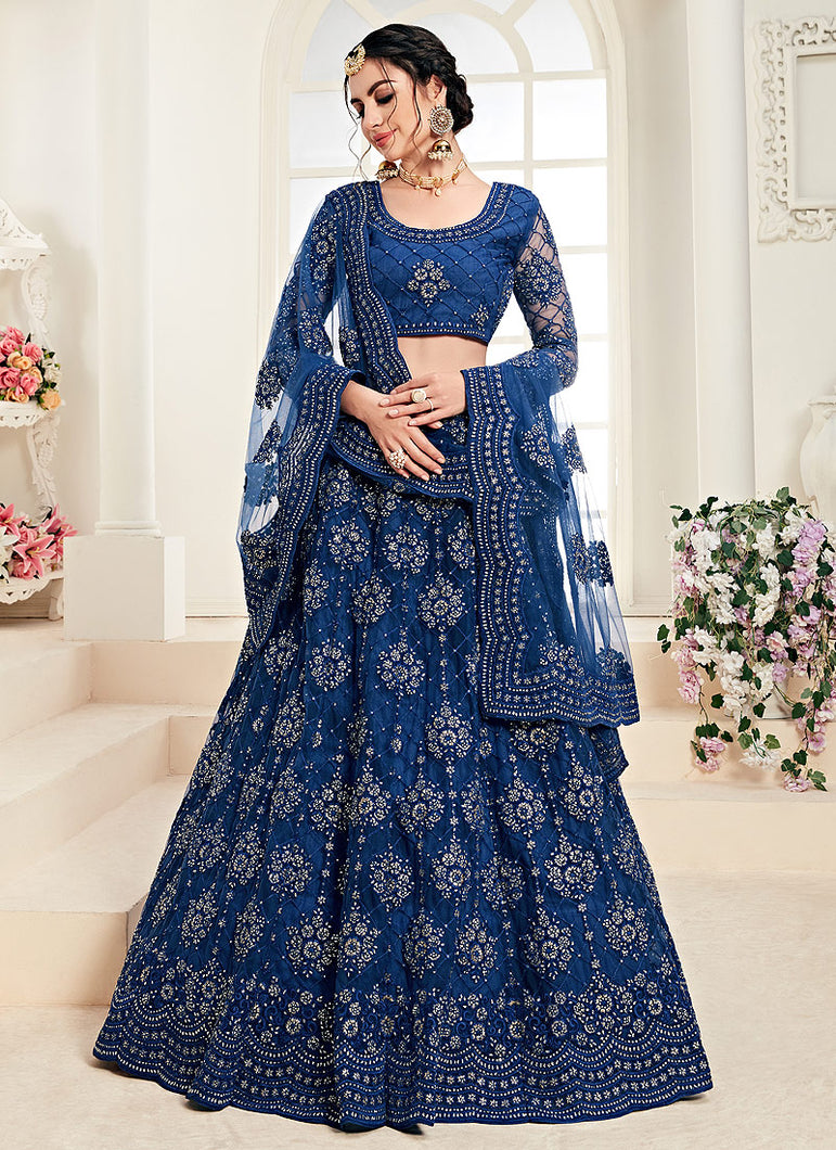 Blue Heavy Embroidered Lehenga by Alizeh
