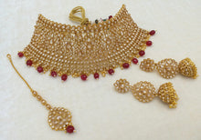 Load image into Gallery viewer, Gold & Ruby Indian Wedding Jewellery Set