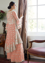 Load image into Gallery viewer, Peach Sharara Suit For Wedding & Party by Aashirwad