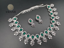Load image into Gallery viewer, Emerald green & silver necklace set by Amanii - LebaasOnline