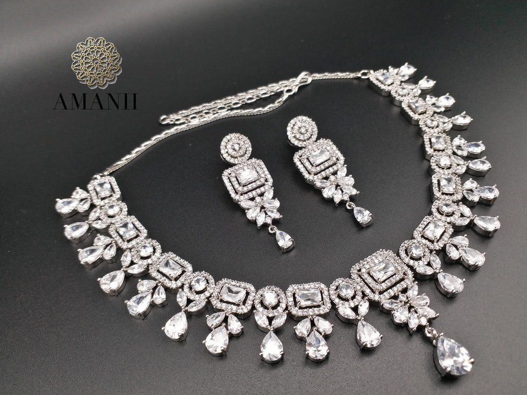 American Diamond Jewellery Set in white CZ - LebaasOnline