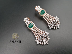 American Diamond Jewellery Set in Emerald & Gold - LebaasOnline