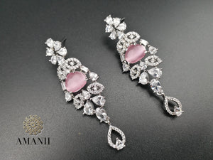 American Diamond Jewellery Set in Pink Ruby - LebaasOnline