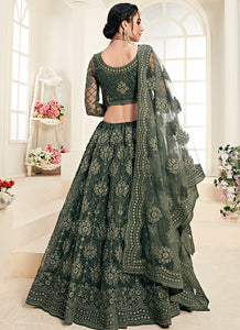 Green Heavy Embroidered Lehenga by Alizeh
