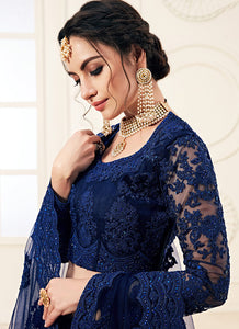 Dark Blue Heavy Embroidered Lehenga by Alizeh