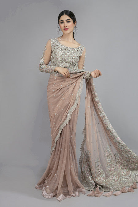 Maria B | Designer Wedding Saree Pink SF-W20-19