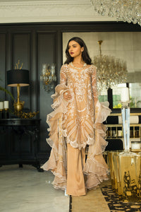 Mina Hasan Chiffon Luxury Suit 2020 in Gold