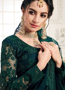 Dark Green Heavy Embroidered Lehenga by Alizeh